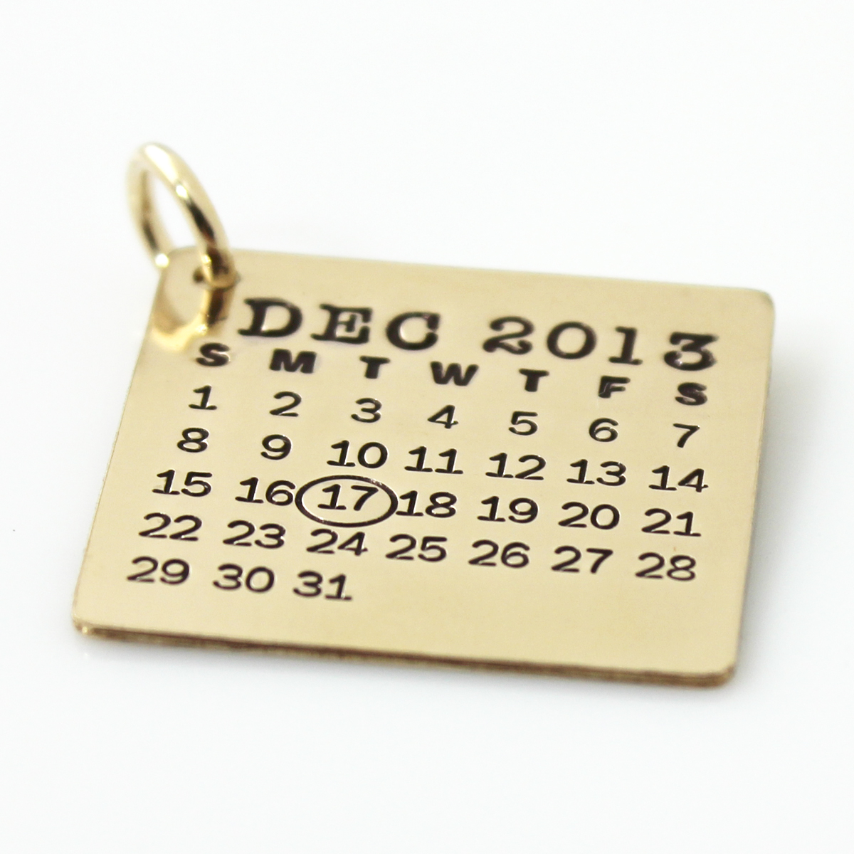 Mark Your Calendar Charm - Gold Filled with oval around date