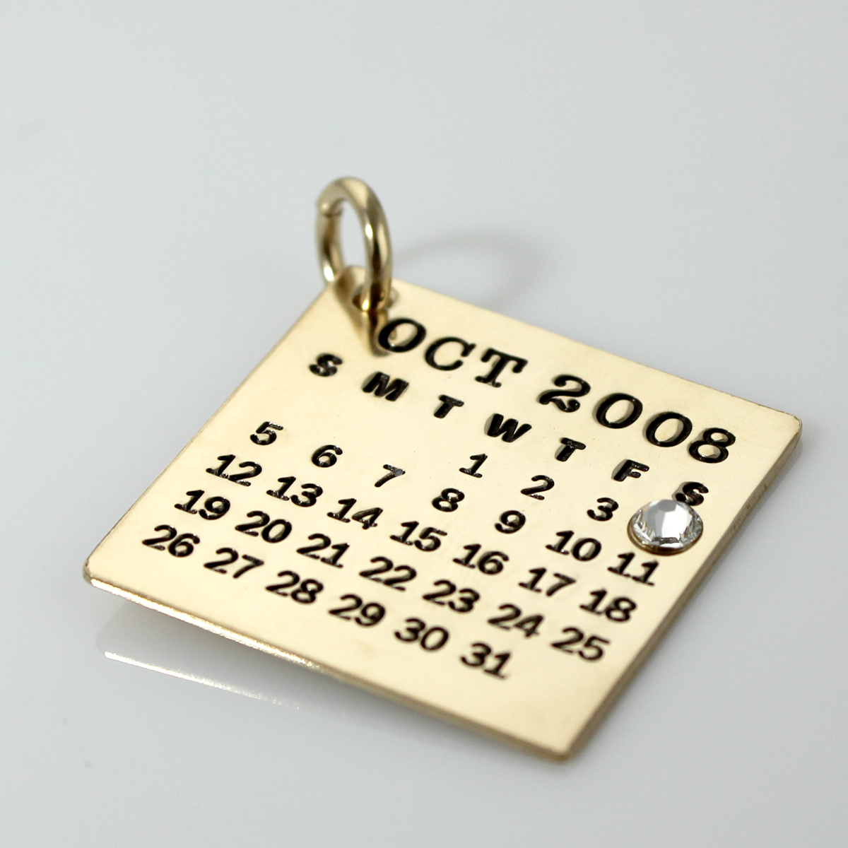 Mark Your Calendar Charm - Gold Filled with crystal over date