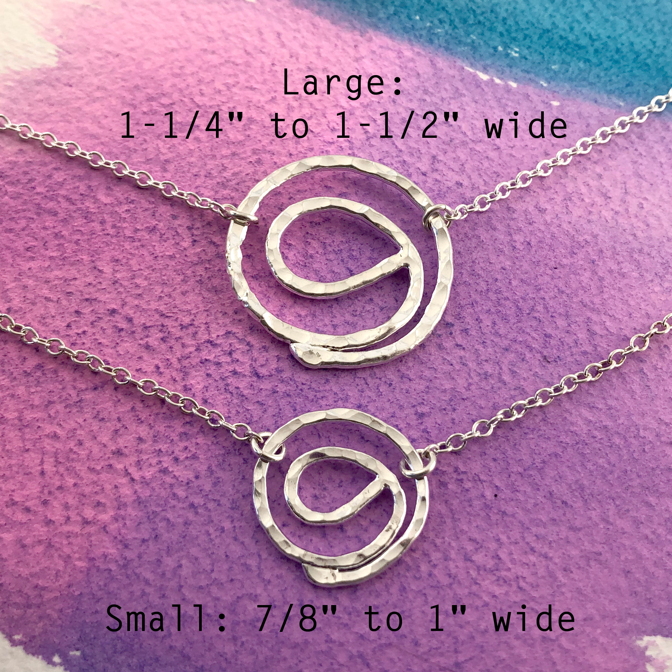 Gratitude Symbol Fine Silver Necklace two sizes shown
