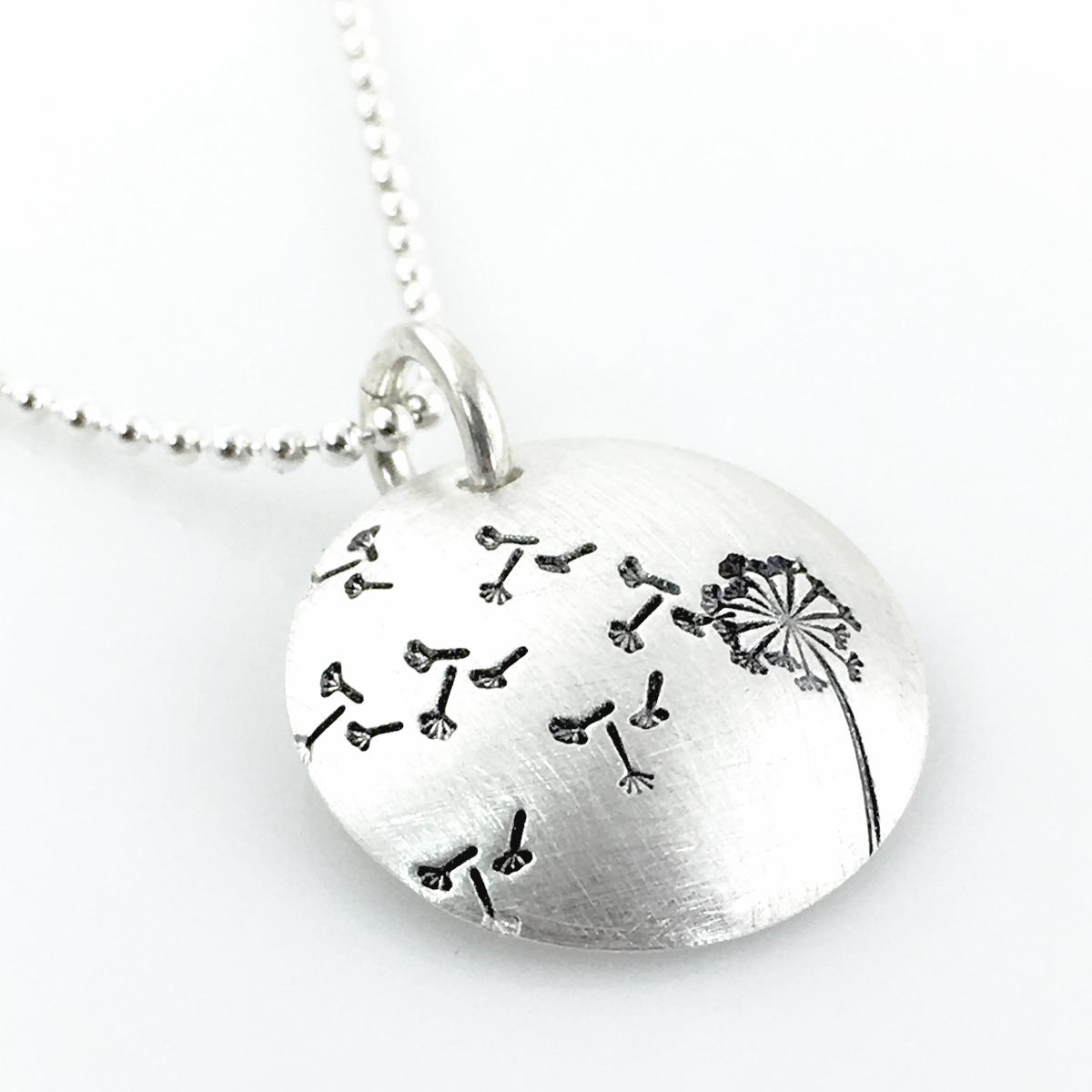 Dandelion hand stamped sterling necklace