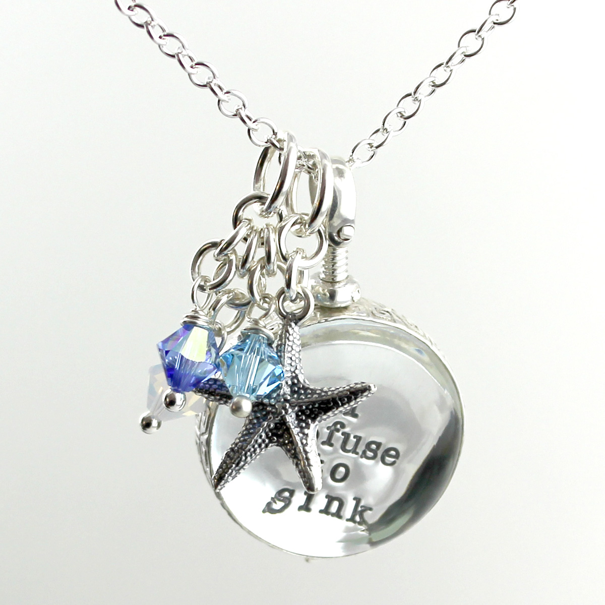 Simply Charming Glass Locket Personalized Necklace with Starfish Hanging