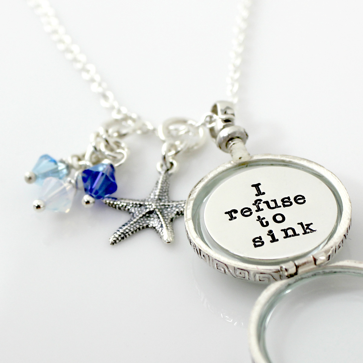 I refuse to sink - Simply Charming Glass Locket Personalized Necklace with Starfish