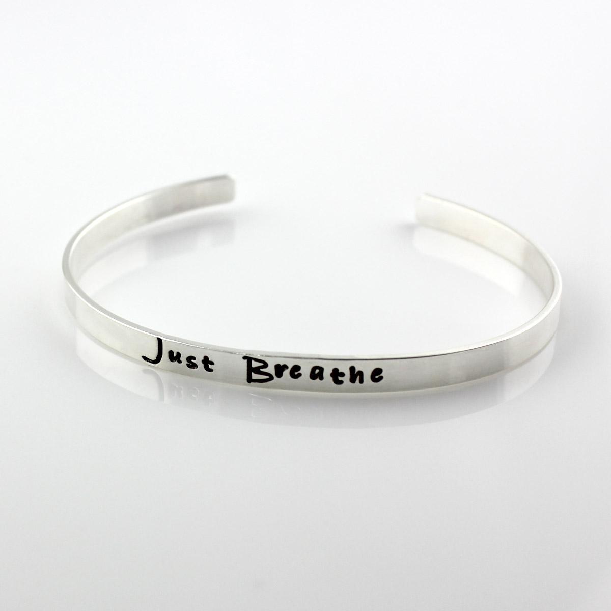 Just Breathe Sterling Cuff Bracelet