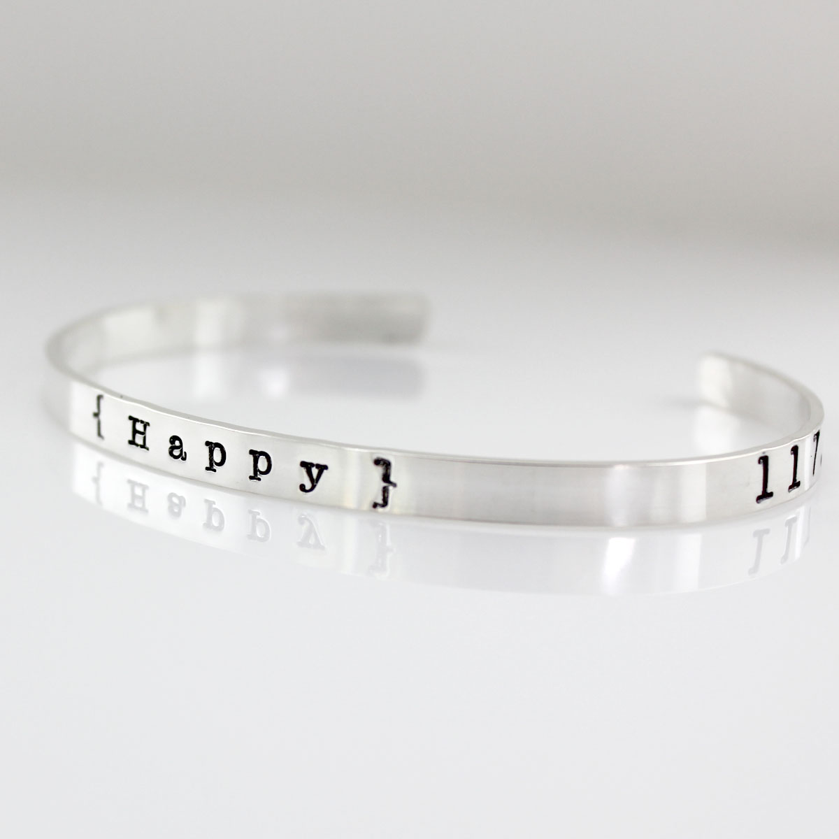 My Happy Place Personalized Geographic Coordinates Cuff Bracelet