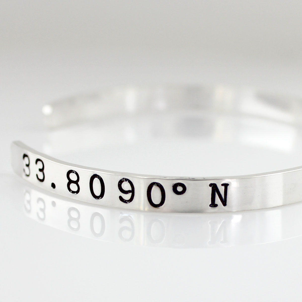 My Happy Place Personalized Geographic Coordinates Cuff Bracelet Geographic Coordinates Cuff Bracelet