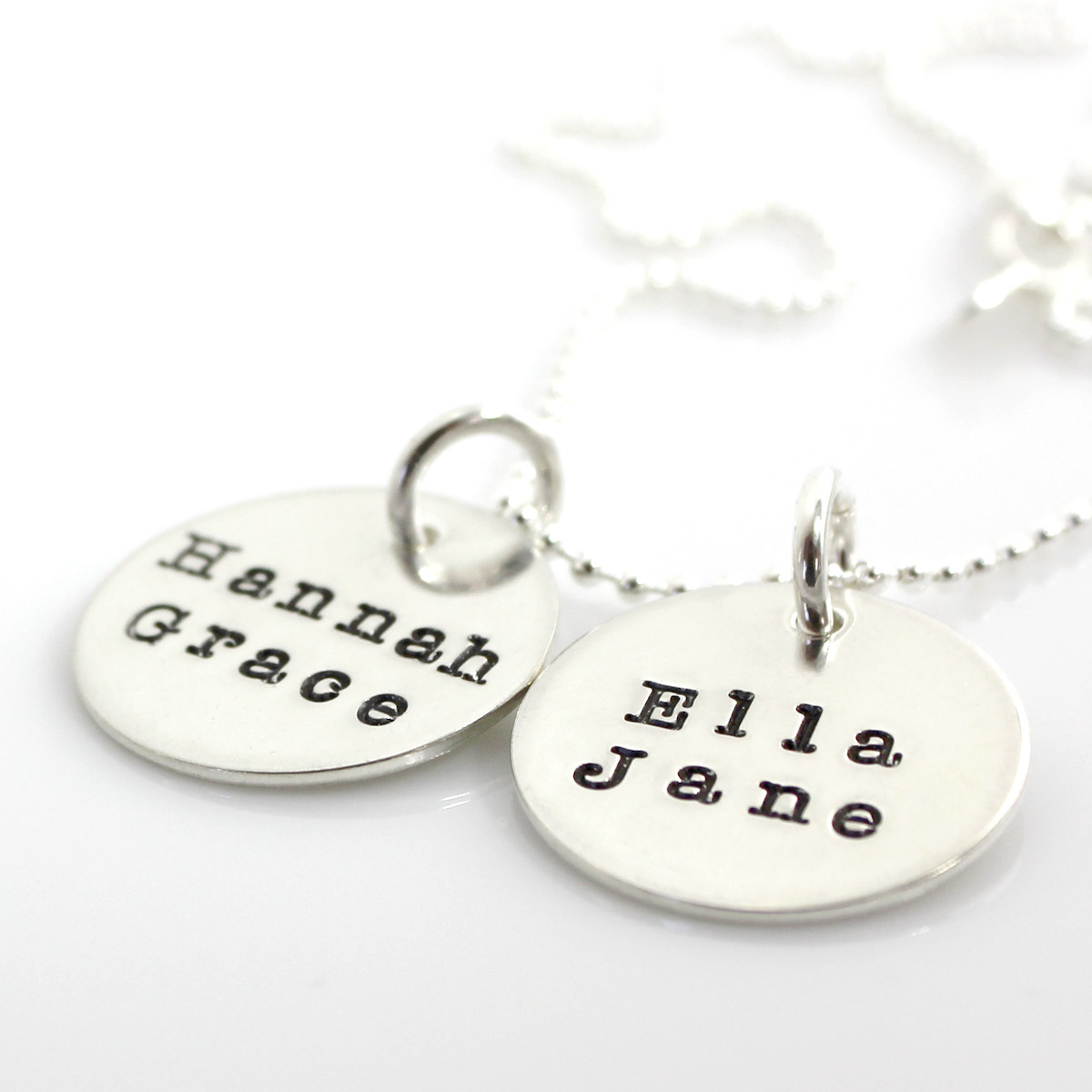 Simple Name Necklace - Two Discs