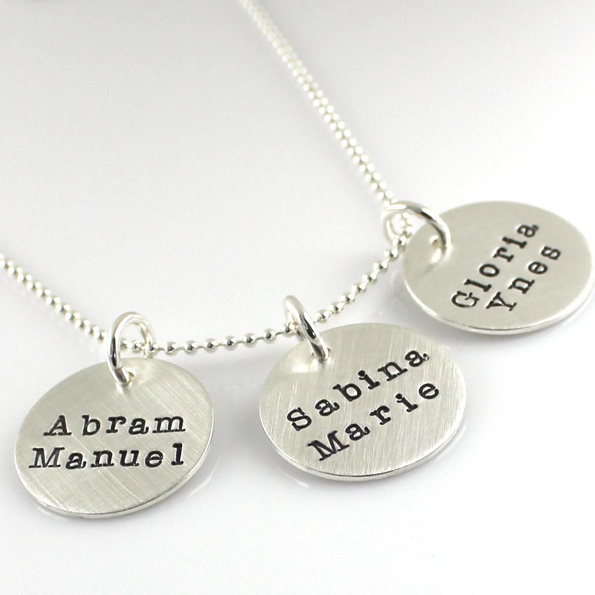 Simple Name Necklace - Three Discs