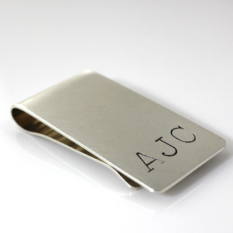 Personalized Large Initials Sterling Silver Money Clip