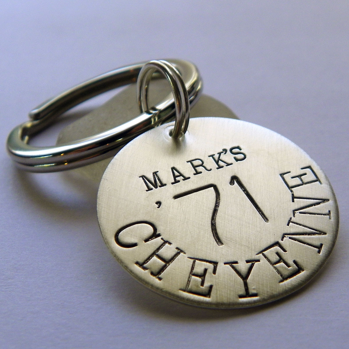 Car Lovers Personalized Hand Stamped Sterling Silver Key Chain