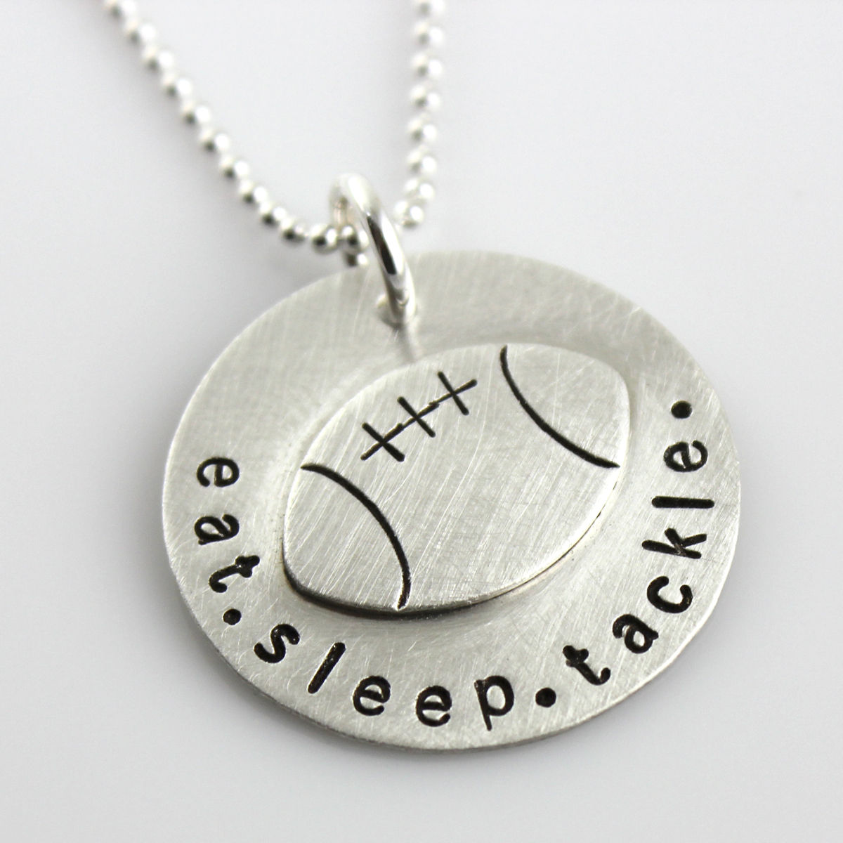 Eat. Sleep. Tackle. Serling Silver Necklace