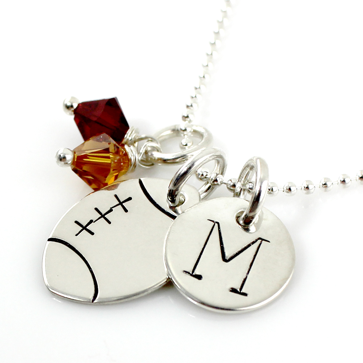 Personalized Football Necklace with Initial Charm