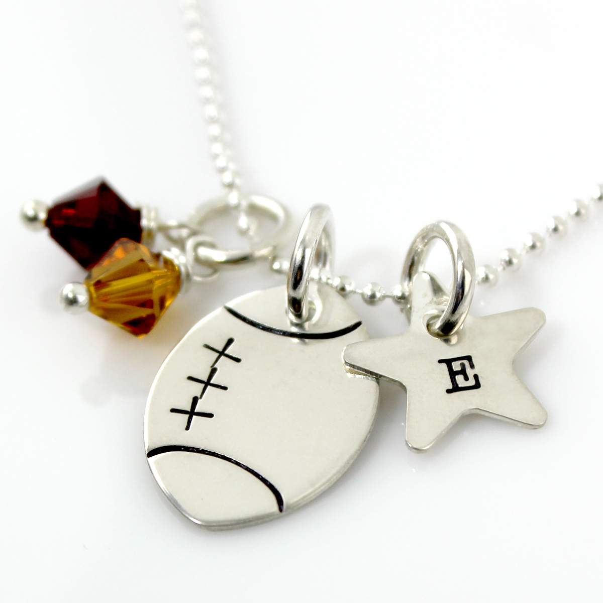Personalized Football Necklace with Star Charm