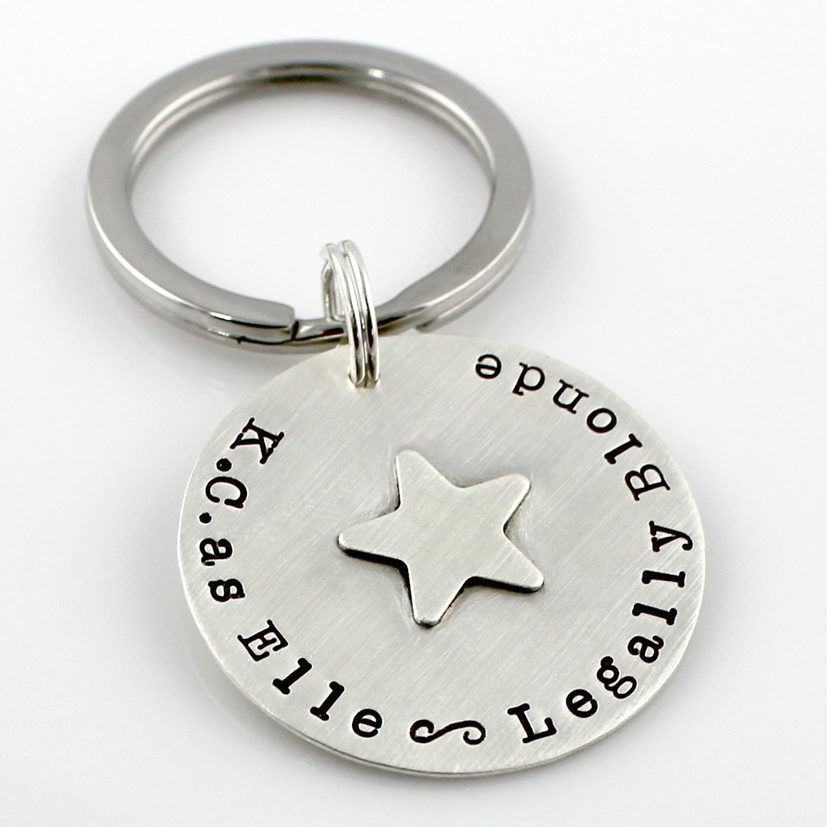 Performing Arts Personalized Hand Stamped Sterling Key Chain
