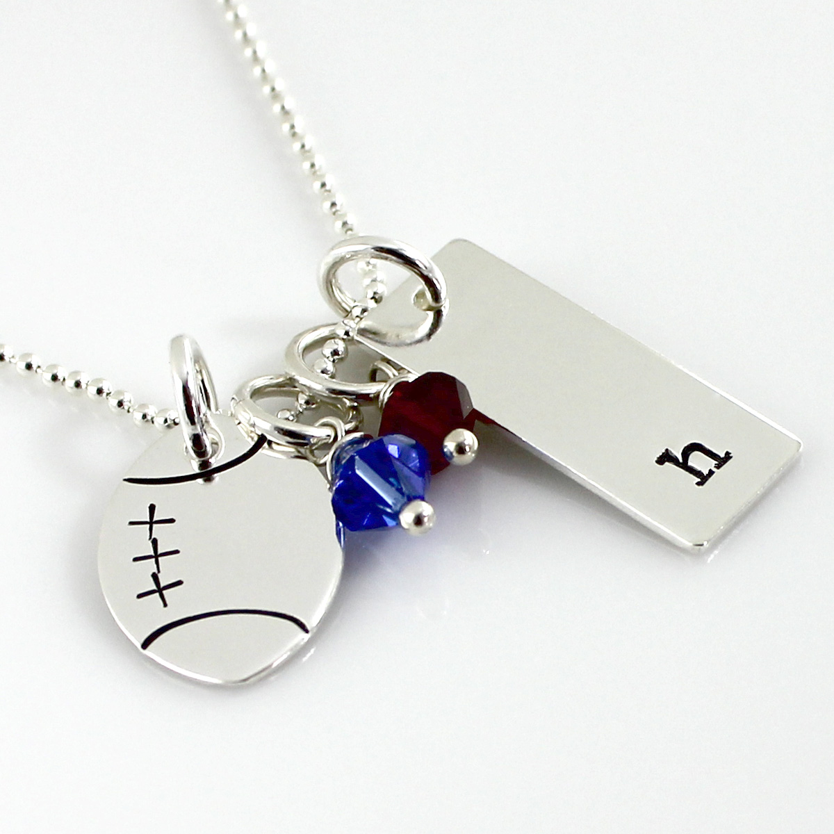 Personalized Football Necklace with Initial Tag