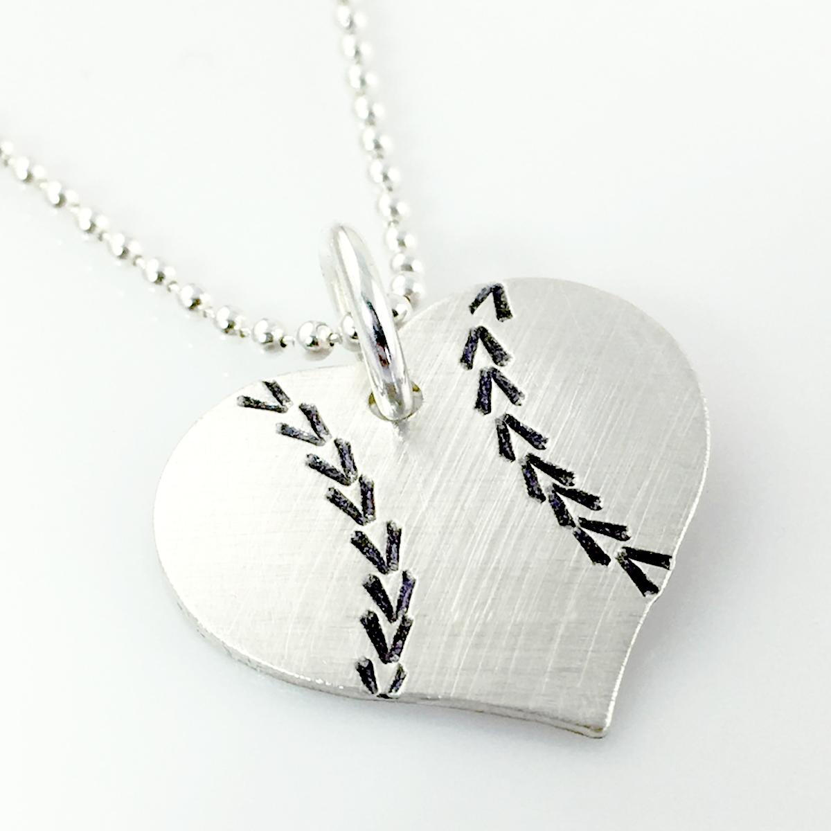 I Love Baseball Baseball Heart Necklace By Punky Jane