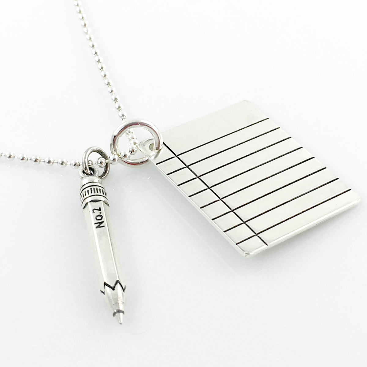 Binder Paper and Pencil Sterling Silver Necklace