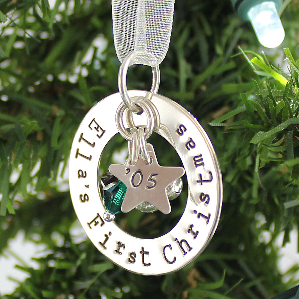First Christmas Personalized Ornament Keepsake with Crystals and Bells