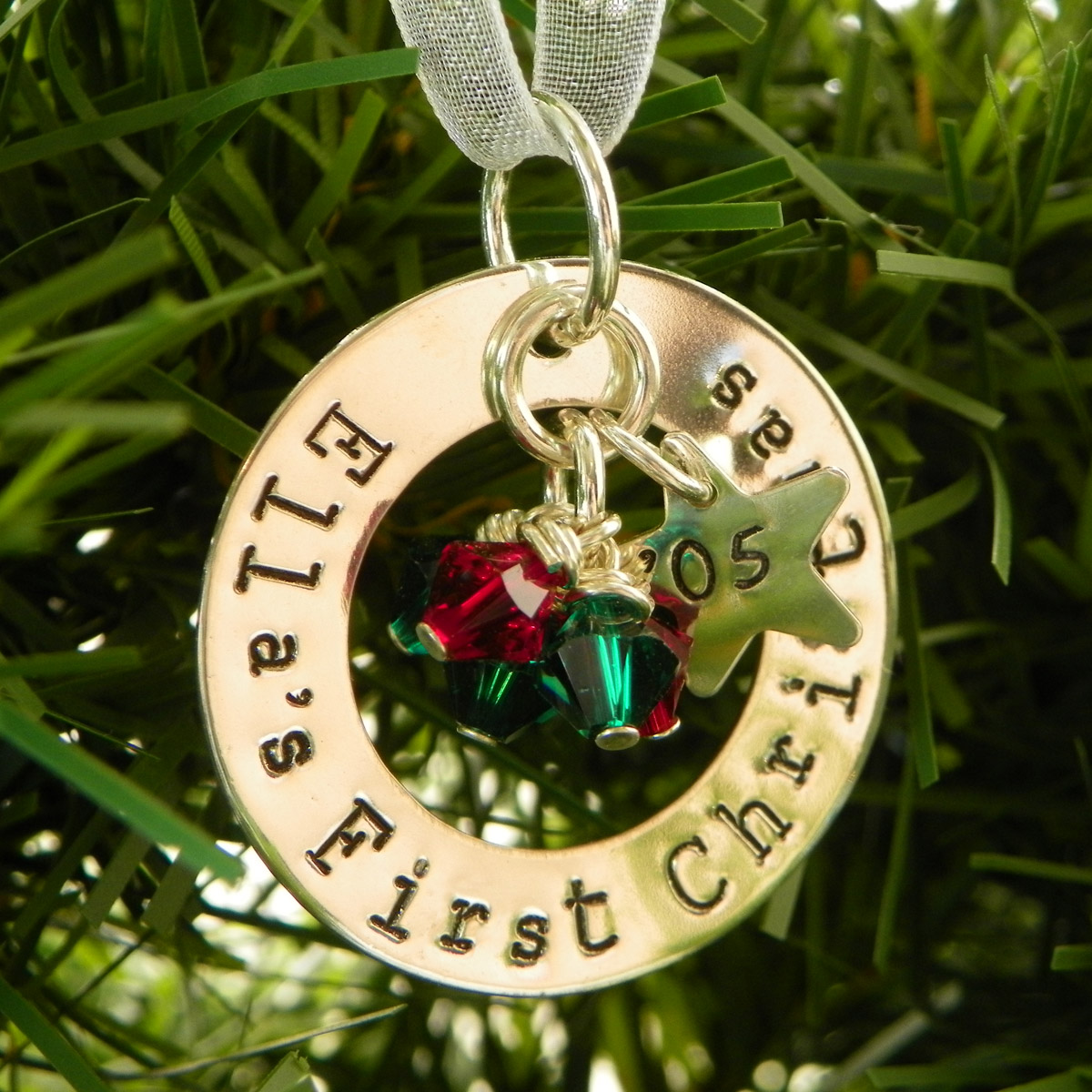 First Christmas Personalized Sterling Silver Ornament Keepsake with crystals