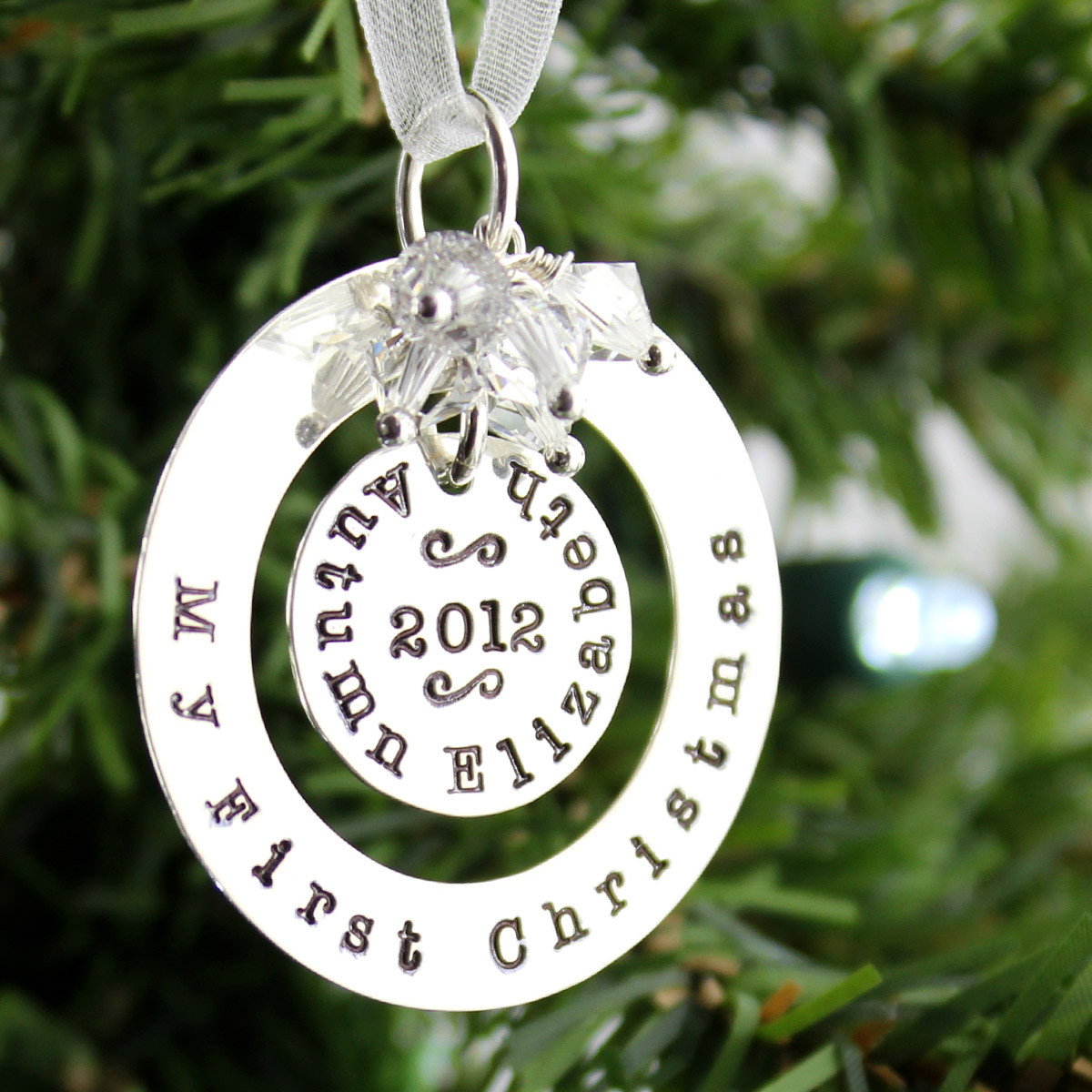 726af3428 My First Christmas Personalized Sterling Silver Ornament ...