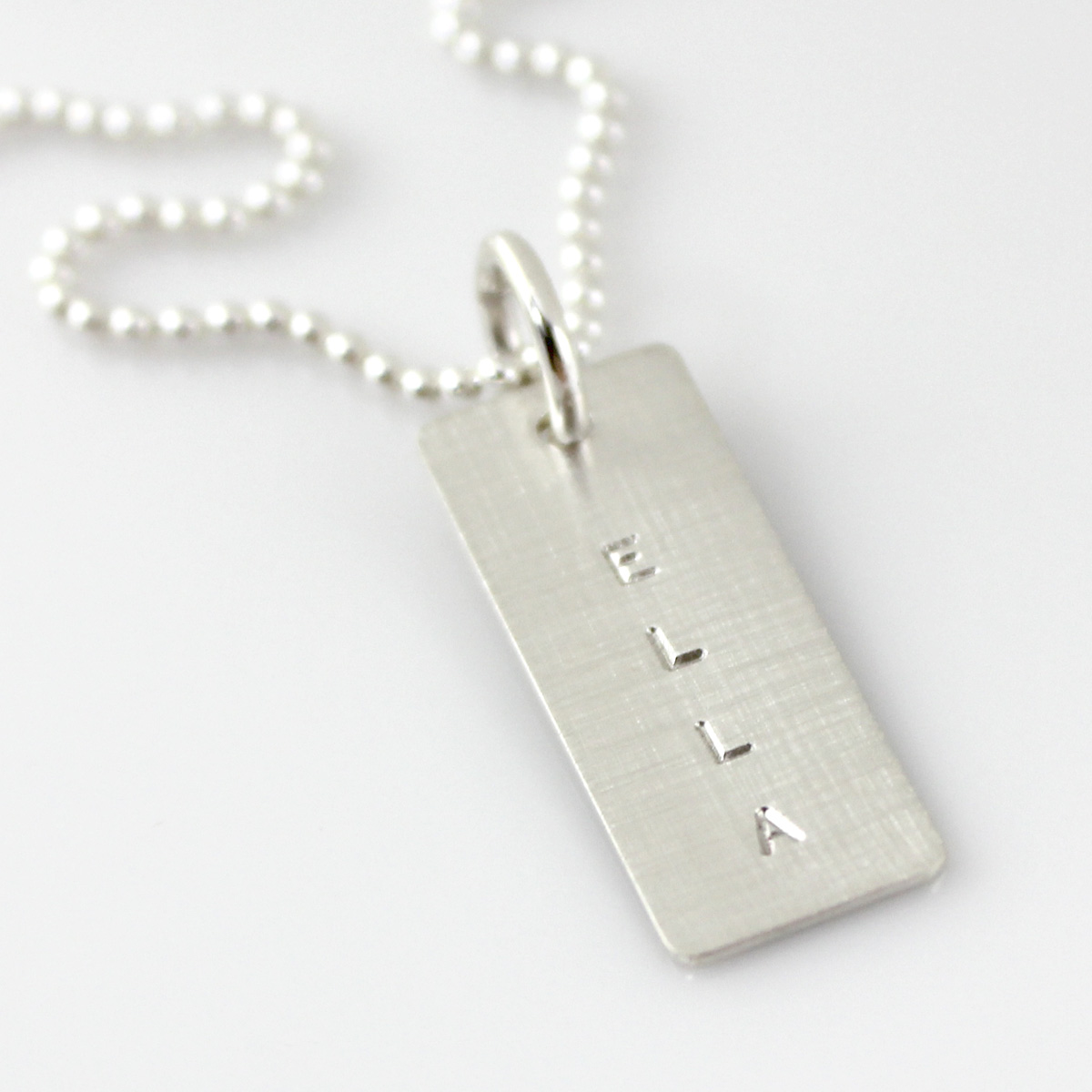 Simple Name Tag Necklace - Short Sterling Silver