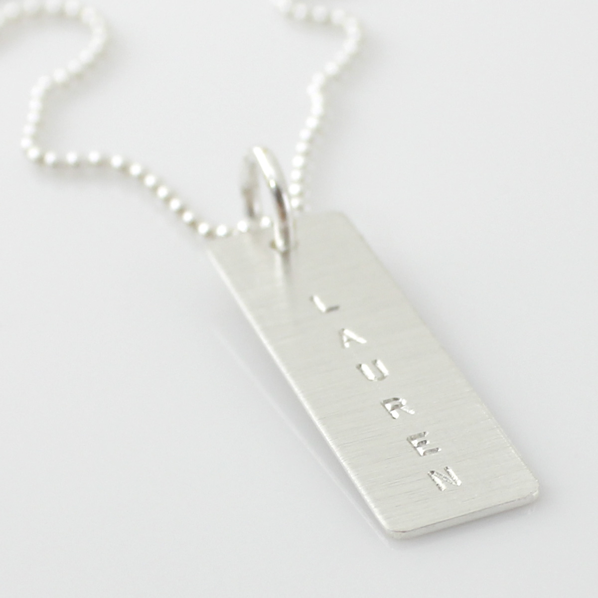 Simple Name Tag Necklace - Long Sterling Silver