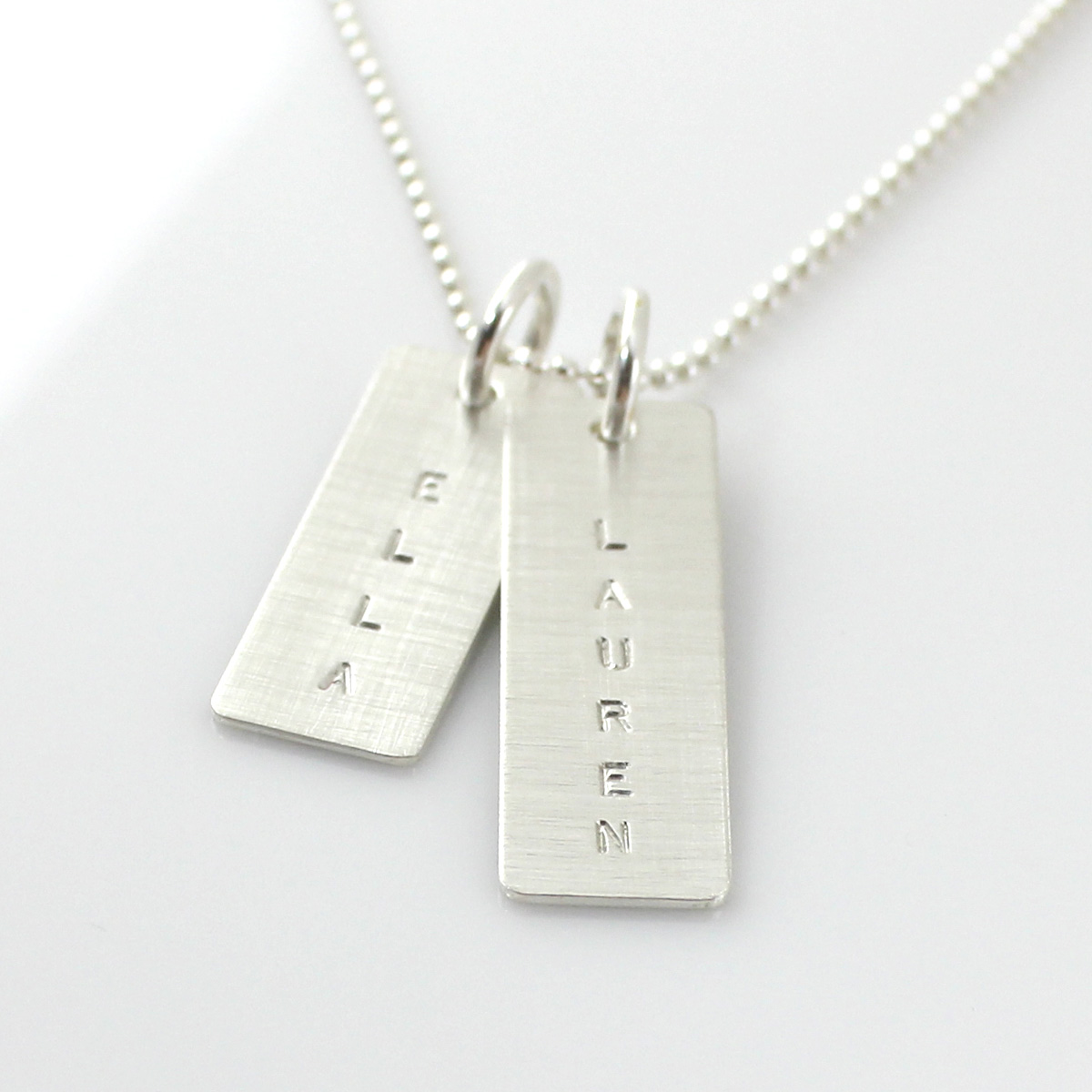 Simple Name Tag Necklace - one long one short