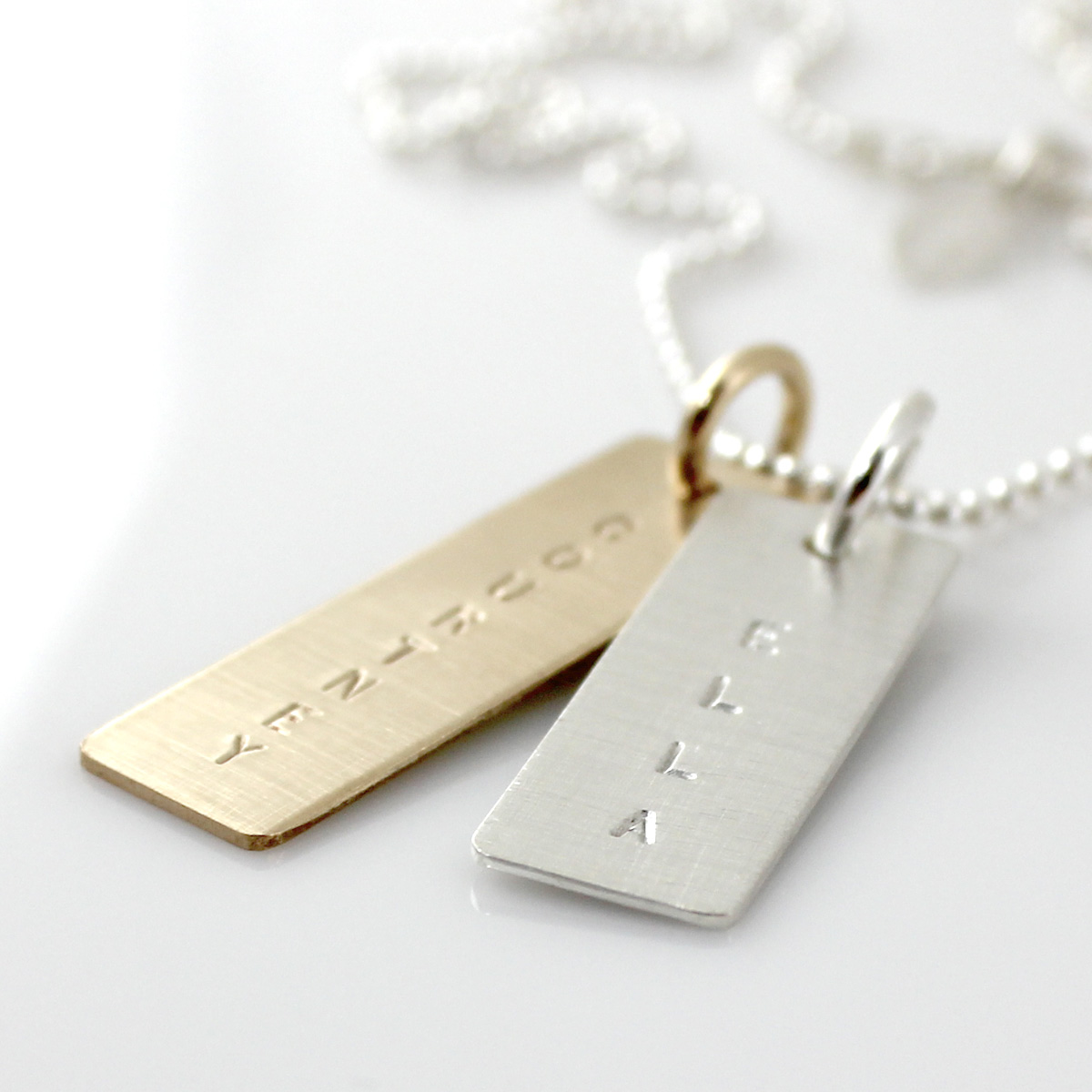 Simple Name Tag Necklace - Mixed Metal
