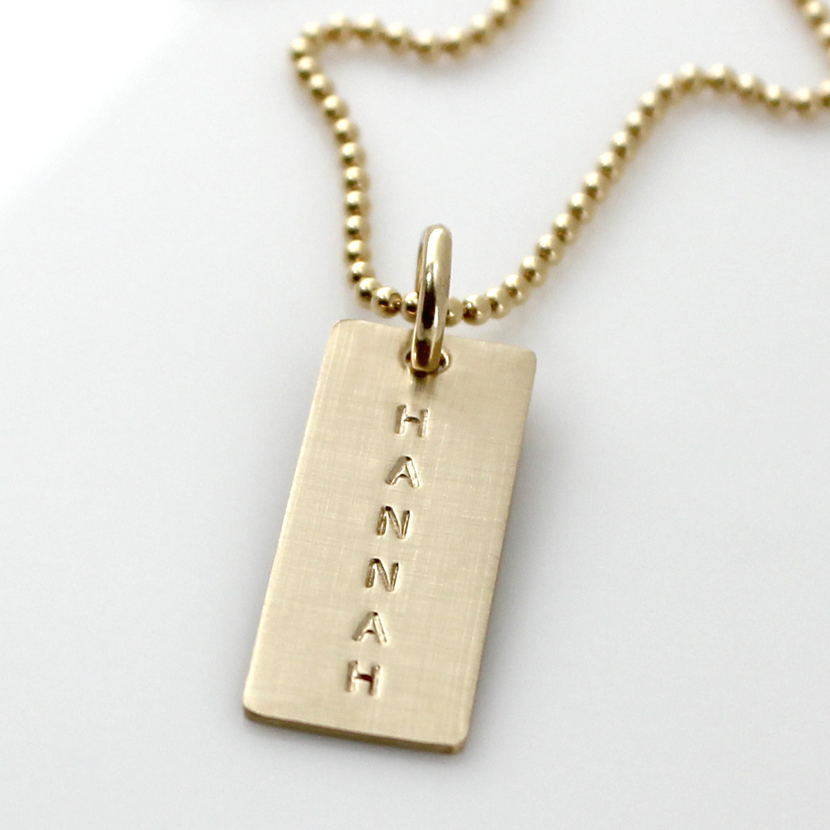 Simple Name Tag Necklace - Gold Filled Short Tag