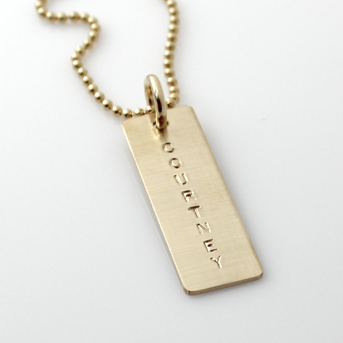 Simple Name Tag Necklace - Gold Filled Long Tag