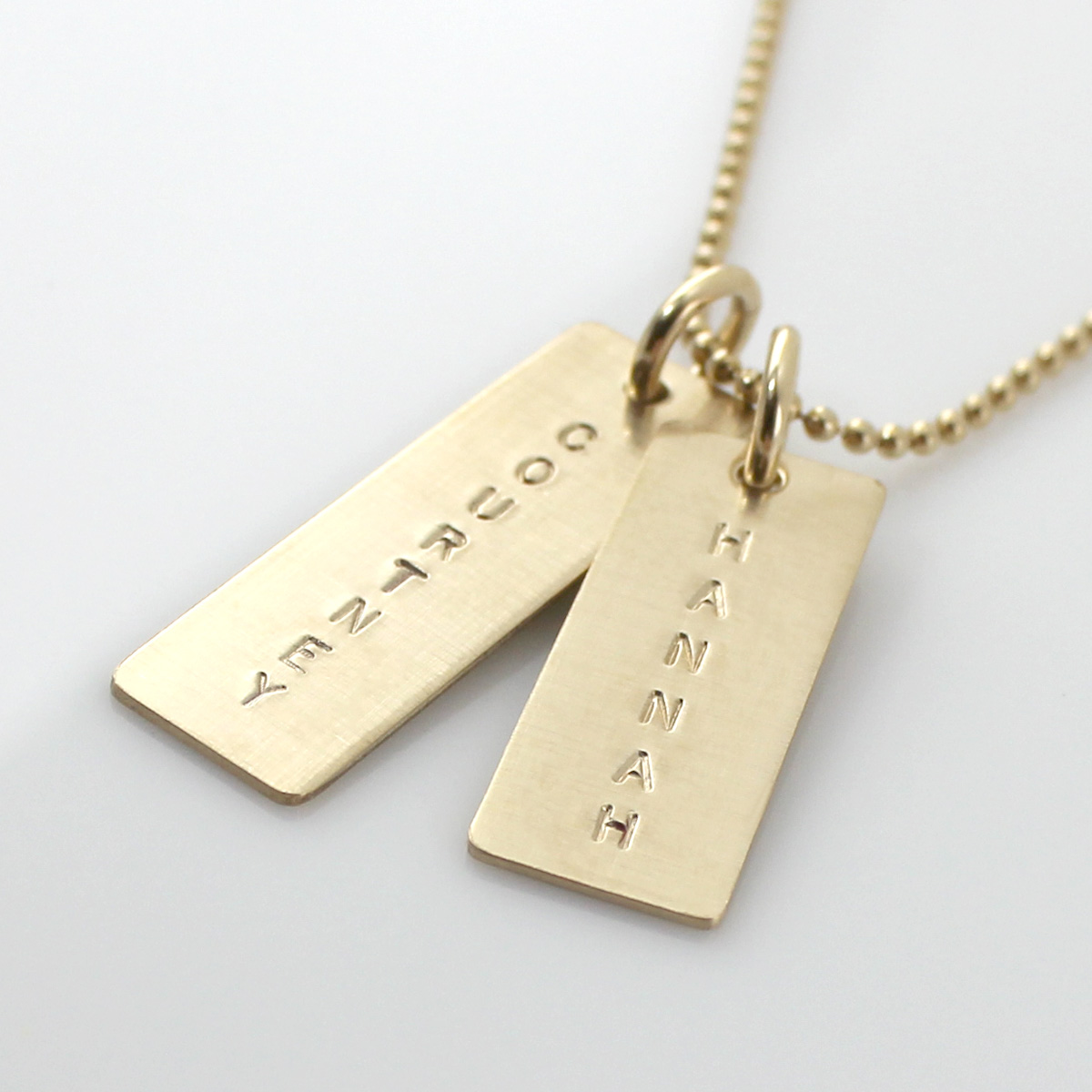 Simple Name Tag Necklace - Gold Filled - one long one short