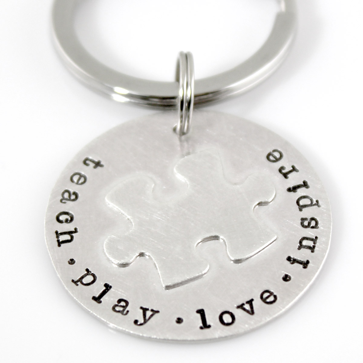 Puzzle Piece Sterling Key Chain - Autism Awareness
