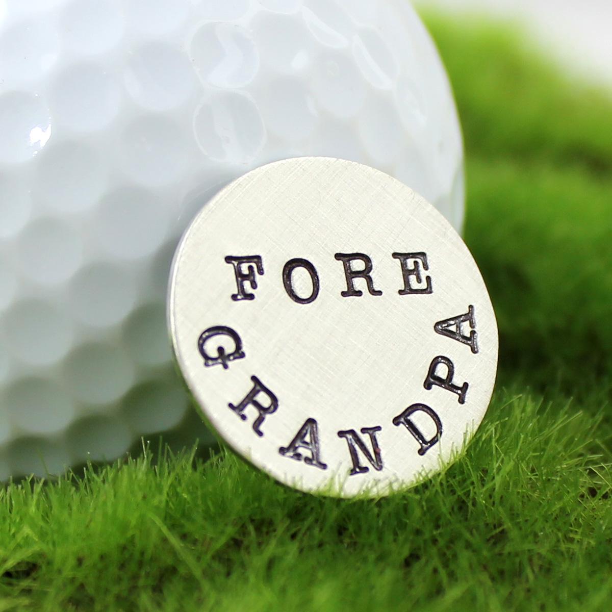 Fore Grandpa Handstamped Sterling Golf Marker