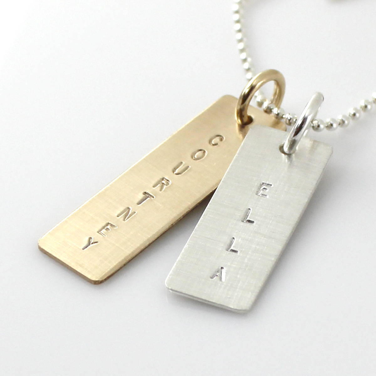Mixed Metal Name Tag Necklace - Varied Length, Long Gold-Filled