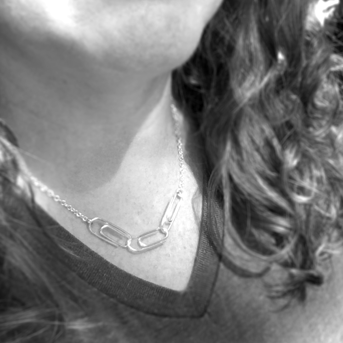 Paper Clip Chain Necklace / Sterling Silver