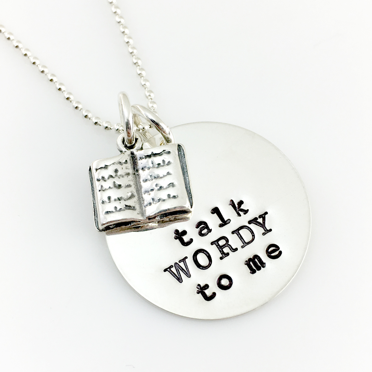 Talk WORDY To Me Book Lover Necklace without crystal