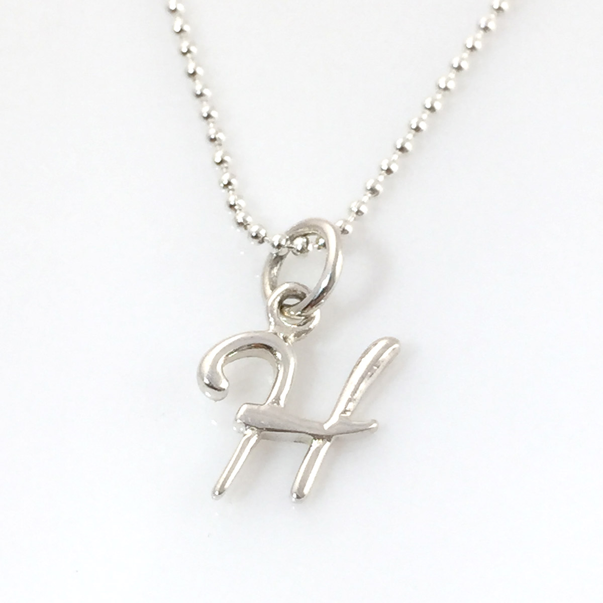 Simple Script Initial Charm Necklace