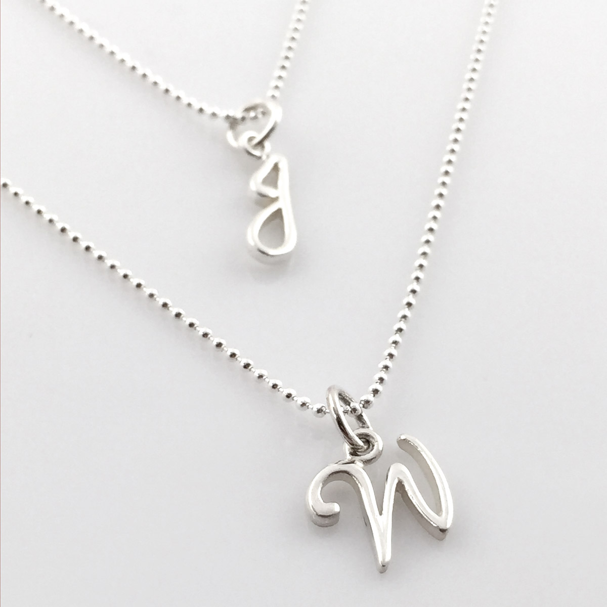 Simple Script Initial Charm Necklace - Great for layering!