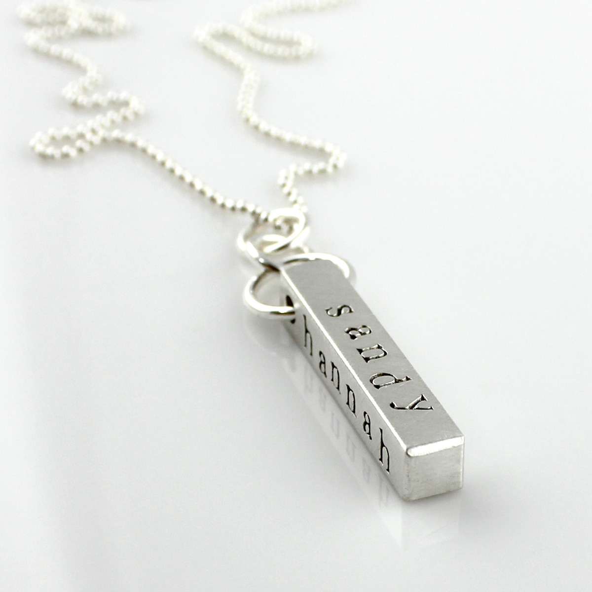 Four-Sided Bar Necklace - Sterling Silver