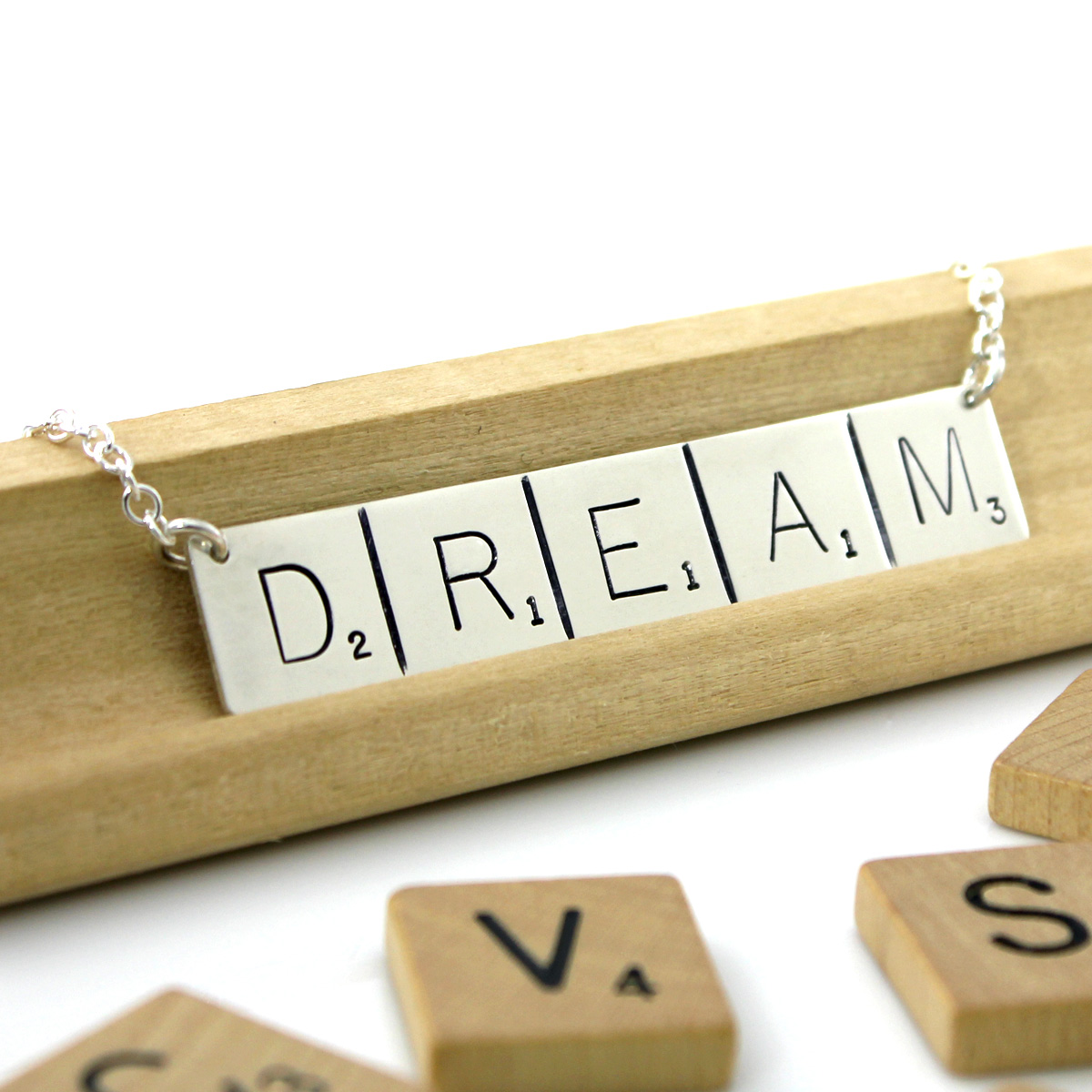 Scrabble Inspired Necklace - DREAM (Ready to Ship)