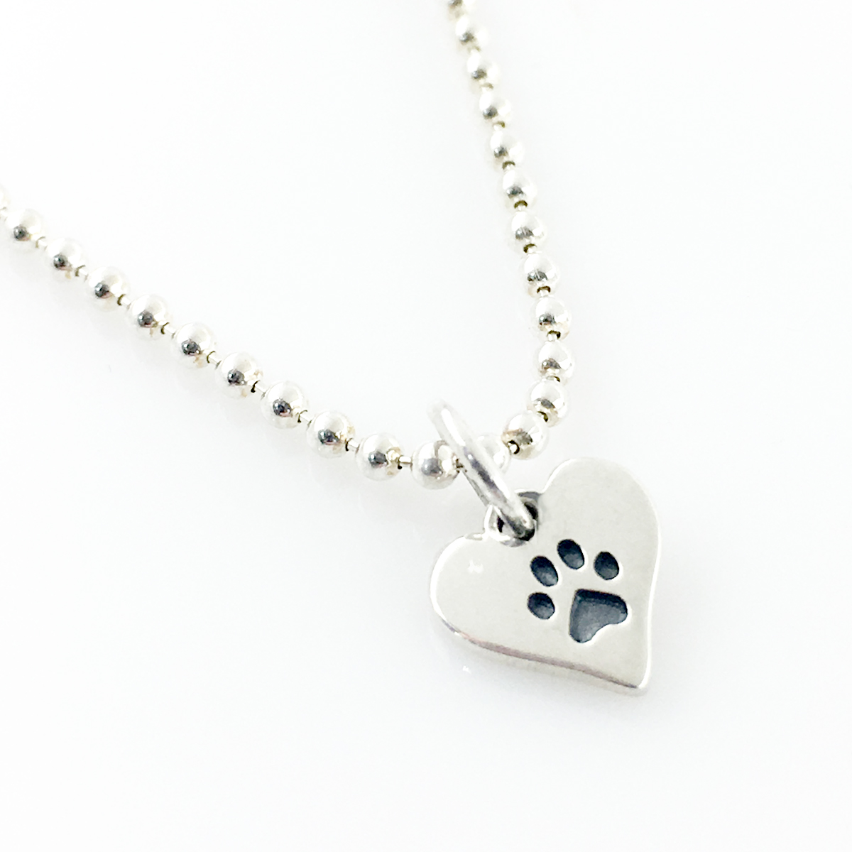 Paw Print Heart Simple Charm Necklace