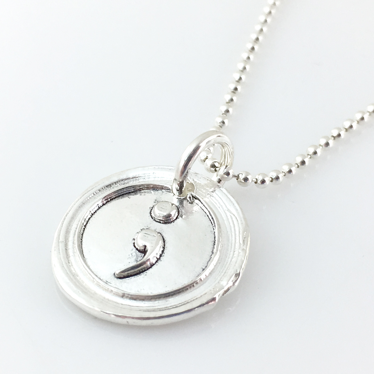 Semicolon Wax Seal Inspired Necklace