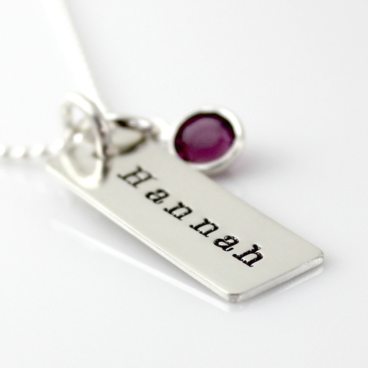 Name Tag Necklace with channel set crystal