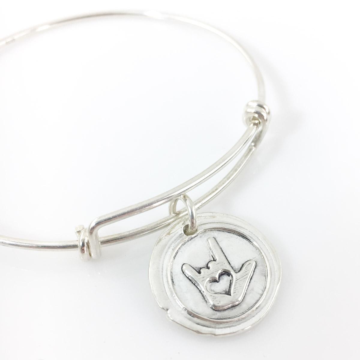 ASL I Love You Symbol Wax Seal Inspired Bangle Bracelet