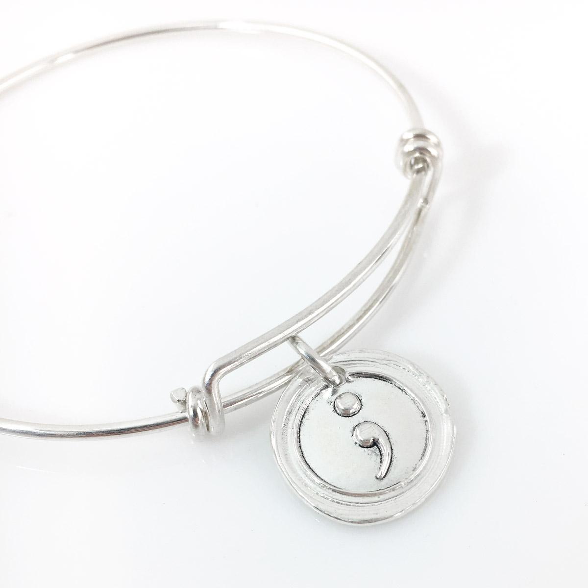 Semicolon Wax Seal Inspired Bangle Bracelet