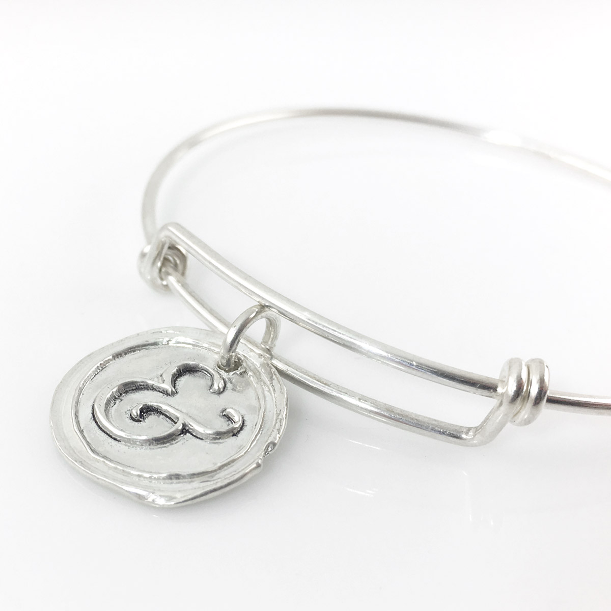 Ampersand Wax Seal Inspired Bangle Bracelet