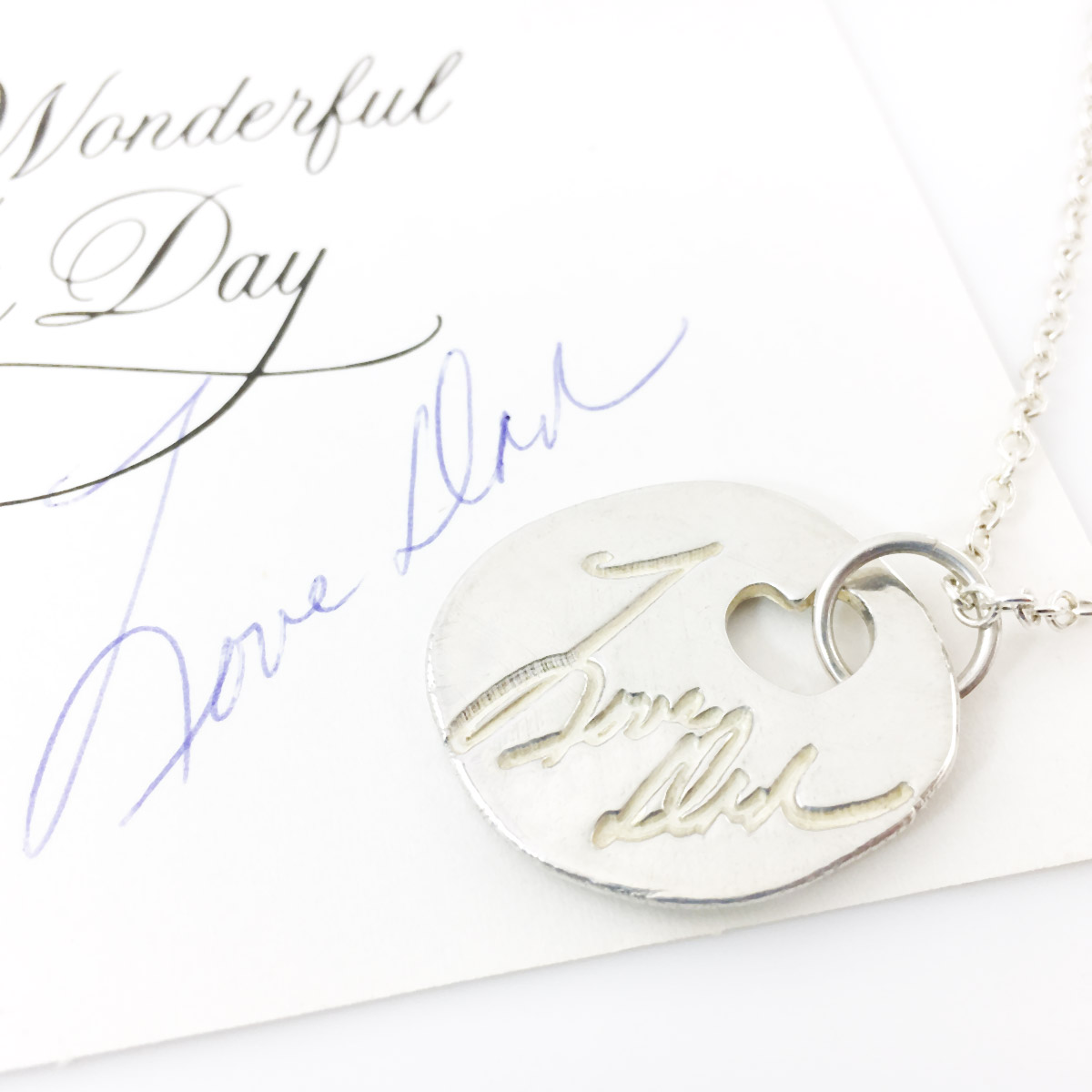 Actual Handwriting Necklace - made from your artwork