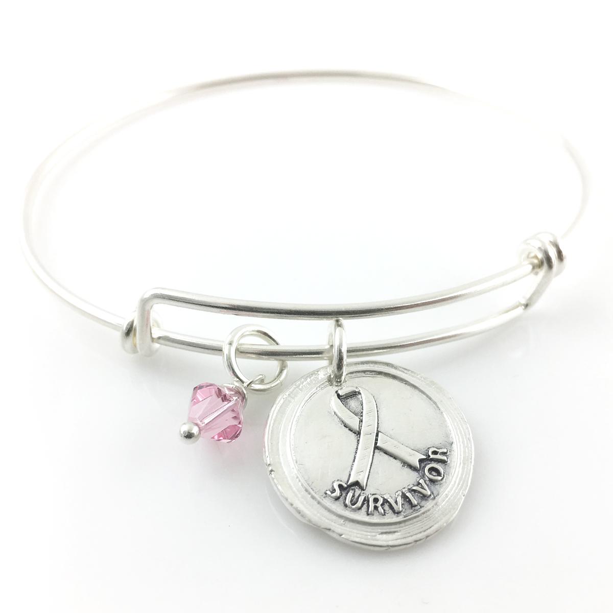 Survivor   Awareness Ribbon Bangle Bracelet