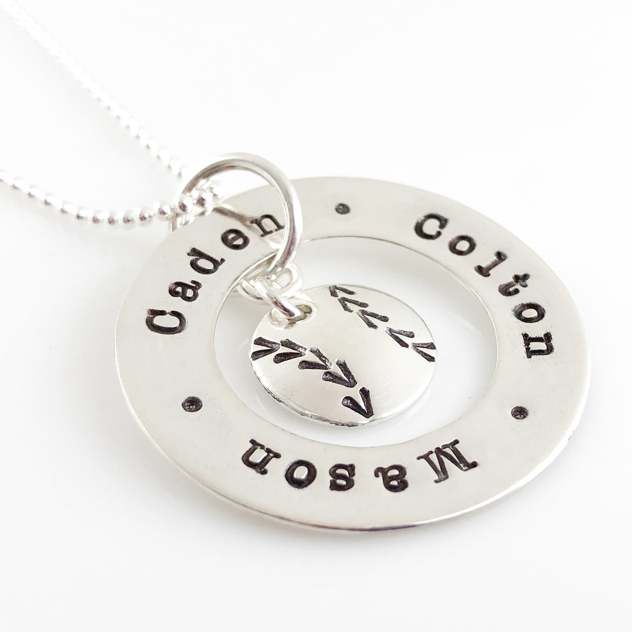Baseball Love Circle Personalized Washer Necklace