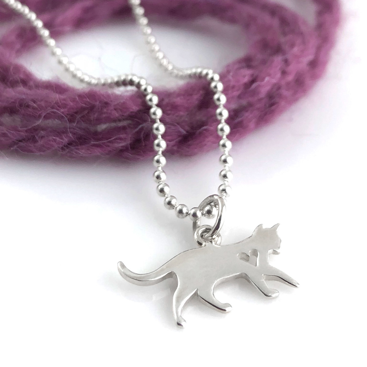 Cat Simple Charm Necklace with cut out heart