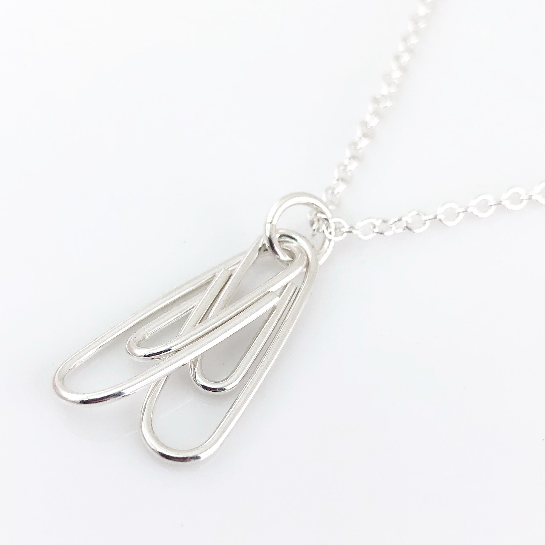 Two Linked Paperclips Necklace on a cable chain
